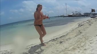 Naughty Christine - Applying Lotion On A Topless Beach