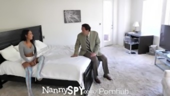 Nannyspy Lonely Dad Seduces Busty Brunette Nanny Amia Miley