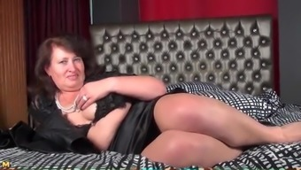 Chubby Mature Gal Is Sexy In A Satin Skirt