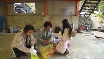 Japanese Woman Ravished Well A Couple Of Randy Stallions