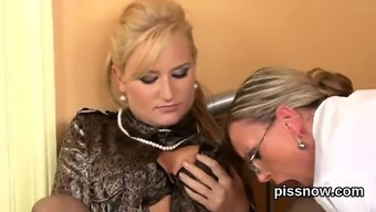 Amazed Looker In Lingerie Is Geeting Urinated On And Drilled