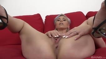 Blonde Mature Woman Kathy White Enjoys Riding A Bbc