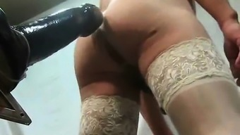 Large Dildo To Get A Crossdresser That Is Starving