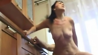 Hardcore Sex With Brunette In The Kitchen