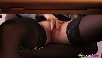 Sex-Appeal Ladyboss Lucy Zara Is Masturbating Pussy Under The Table