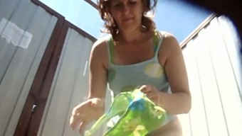 Mature Redhead White Woman In The Cabin Got Her Hairy Pussy Filmed On Spycam