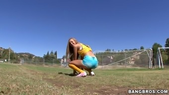 Exotic Brazilian Chick Jessie Rogers Wearing Tight Blue Shorts Showing Her Butt