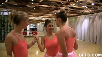 Big Breasted Ballerinas Relax After Dance Practice By Teasing Wet Cunts
