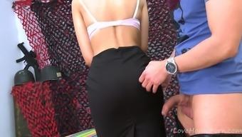 Beautiful Brunette Plays Kinky Dress Up In Uniform