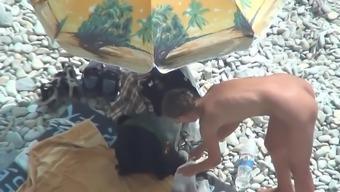 Anal Dildo Play With A Horny Couple On The Beach