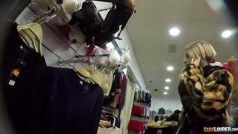 Pierced Skank Rides A Thick Boner In A Dressing Room