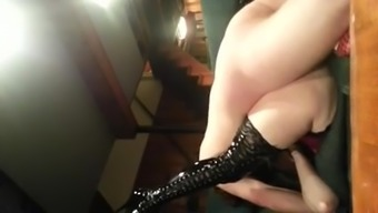 Fucking Hubby'S Friend In Thigh High Boots And Squirting