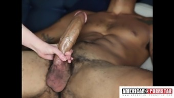 Huge Black Boner Gets Stroked By An Inked White Babe