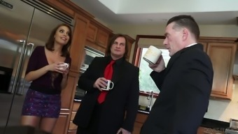 Sexy Slut Britney Amber Is Having Some Fun With A Rich Man In The Kitchen