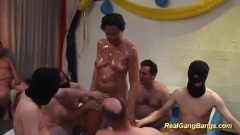 Horny German Oiled Mom Ready For Her First Gangbang Bukkake Fuck Orgy
