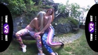 Tmwvrnet - Katy Sky & Candy Red - Yoga Lesbians Orgasm Outdoors