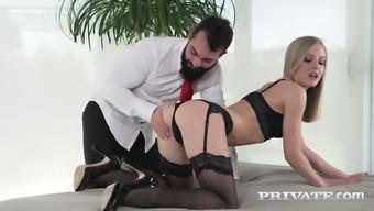 Fantastic Leggy Blonde Nympho In Black Stuff Is Fucked In Spoon Position