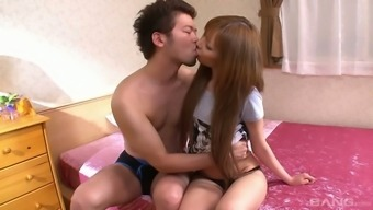 Chestnut Haired Charming Japanese Cutie Is Quite Good At Sucking Dick