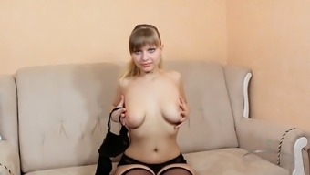Nasty Teenage Bitch Shows Her Very Hairy Cunt On Sofa