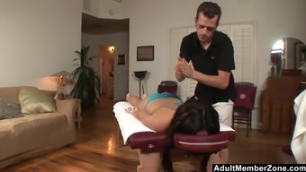 A Very Sexy Brunette Teen Babe Sucks And Fucks At The Massage Table