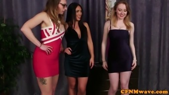 Three Glamorous Bitches Sucking Big Cock