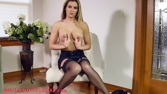 Adorable Blonde In Arousing Lingerie Sucks And Rides A Dildo