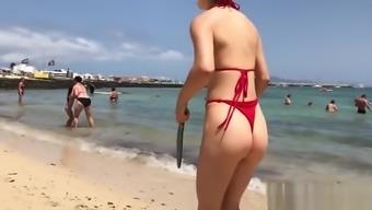 Red Thong Hot Ass Bikini Teen Beach Tennis Voyeur Spy Cam