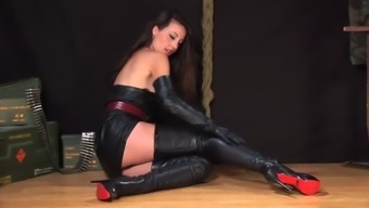 Lorena Garcia In Sexy Leather Dress And Boots