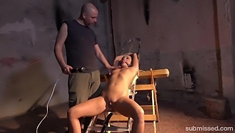 Tied Daphne Klyde Gets Her Shaved Pussy Pleased With Friend'S Toys