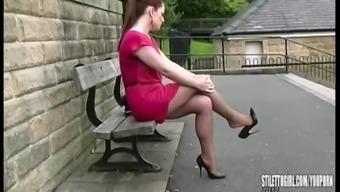Gorgeous Curvy Brunette Stiletto Girl Sara Teasing And Walking In Nylons Tall Stiletto Heels