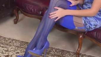 Sexy Brunette Honour May Poses And Plays With Pussy In Stunning Layered Nylon Pantyhose