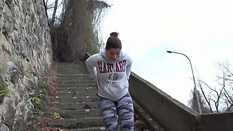 Sporty Vixen Kate Hill Loves Wearing Camo Leggings And Peeing Outdoors