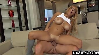 Big Fake Tits Of Alyssa Lynn Jump Up And Down As She Rides A Dick