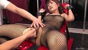 Asian Model Yui Shimizu In Fishnet Poked With A Lot Of Sex Toys