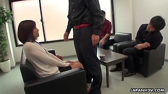 Three Kinky Guys Fucks Hikari Kazami During The Job Interview