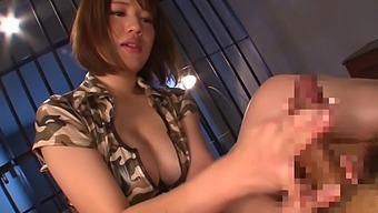 Crafty Asian Honda Riko Uses Hands, Breasts And Mouth To Stroke Cock