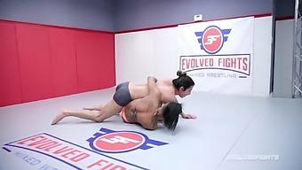 Naked Wrestling Fight As David Lee Fucks Busty Avery Jane
