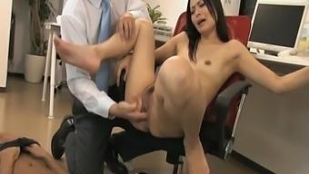 Naughty Secretary Mai Mizusawa Drops On Her Knees To Suck Two Cocks