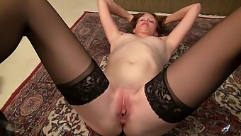 Mature Wife Camille Johnson In Stockings And Lingerie Having Some Fun