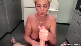 Attractive Blonde Milf Lies Exposed Located On The Base For Getting A Damp Pov Handjob