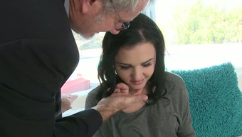 A Chick With Hot Glow With A Smile Is Moving A Dick Regarding A Mature Man