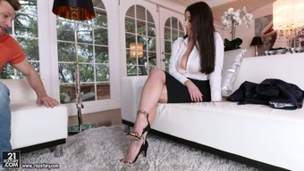 Curvaceous Blond White Female Seems To Be Naughty For Getting A Guy Upon The Settee