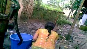 Indian Local Krown Is Changing Her Dress Backyard