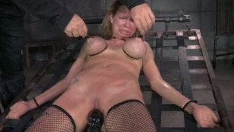 Major Breasted Mommy By Using Nipple Clamps On And Gets Her Muff Toyed