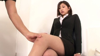 Vigorous Fucking Of A Japanese Splendor In Pantyhose And A Gown