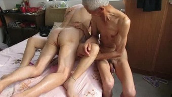 Asian Grand Father Trio Along With Age Girl