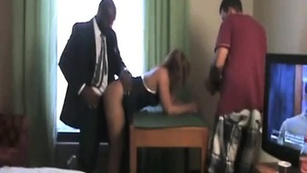Pleasing Blonde Date Stroking Huge Cock That Is African American Male An