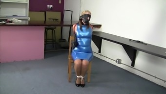 Body In A Blue Latex Dress Collared Leashed And Educated