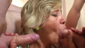 Blonde Old Mature Swallows A Pair Of Youthful Dicks