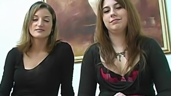 Two Brunette Newbie Babes Giving One Blessed With Good Luck Bloke An Excellent Massage Session